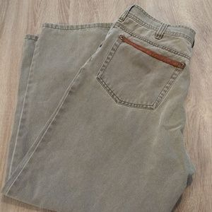 Orvis Mens Gray Jeans Leather Accents Hunting